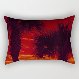 Tropical Palm Trees in a Sunset Rectangular Pillow