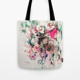 Watercolor Elephant and Flowers Tote Bag