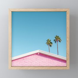 Pink House Roofline with Palm Trees (Palm Springs) Framed Mini Art Print