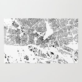 Hamburg Map Schwarzplan Only Buildings Rug