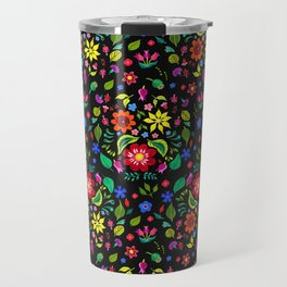 Folk Florals Dark Travel Mug