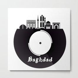 Baghdad Skyline on Vinyl Record - Black and White Metal Print