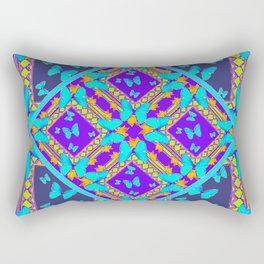 Western Style Purple Turquoise Butterflies Creamy Gold Patterns Rectangular Pillow
