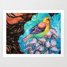 birds and mushrooms Art Print