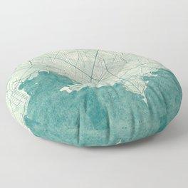 Montevideo Map Blue Vintage Floor Pillow