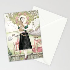 Girl and cat with pink bicycle Stationery Cards