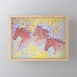 Three horses run in the desert. Original painting. Framed Mini Art Print