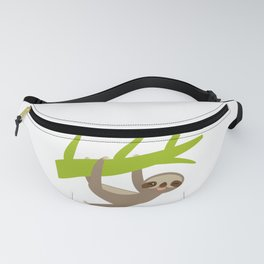 funny and cute smiling Three-toed sloth on green branch Fanny Pack