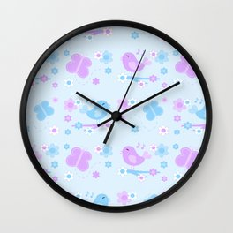 Chickadee Bird Butterfly Floral Purple Lavender Blue Wall Clock