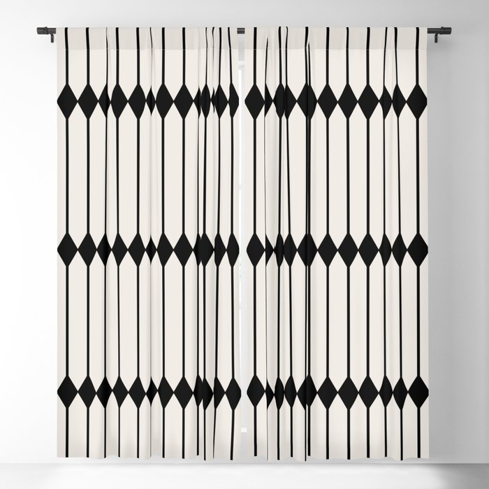 Minimal Geometric Pattern - Black Blackout Curtain