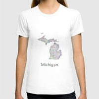 michigan T-shirts featuring Michigan map by David Zydd