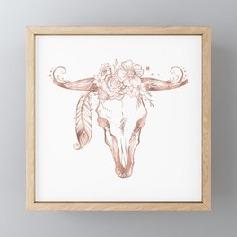 Rose Gold Bull Skull with Pink Feather Flowers Framed Mini Art Print