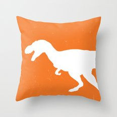 T-rex Orange Dinosaur Throw Pillow