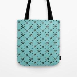 Floral Geometric Pattern Chocolate Brown Aqua Sky Tote Bag