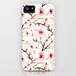 Watercolor cherry blossom pattern iPhone Case