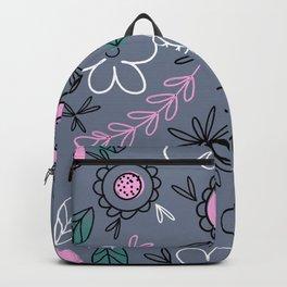 Flowers in Grey Backpack