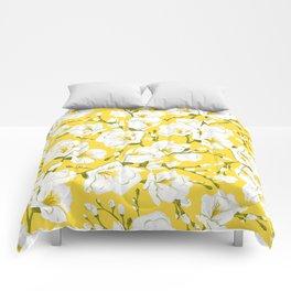 White freesia on a yellow background Comforters