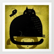 BLACK CAT AND BIRD ON HED Art Print