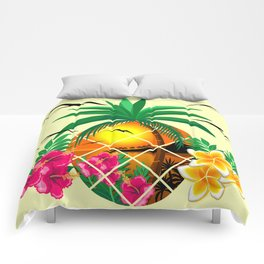 Pineapple Tropical Sunset, Palm Tree and Flowers Comforters
