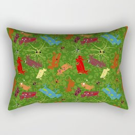 Frogs and spiders - Tropical Dawn - Green Rectangular Pillow