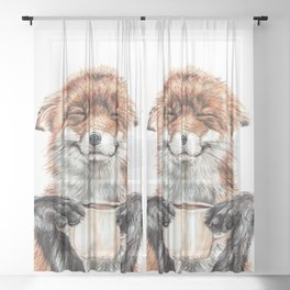 """"""" Morning fox """" Red fox with her morning coffee Sheer Curtain"""