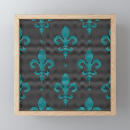 Modern textured Fleur de Lis pattern teal on black Framed Mini Art Print