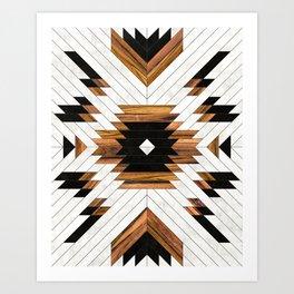 Urban Tribal Pattern No.5 - Aztec - Concrete and Wood Art Print