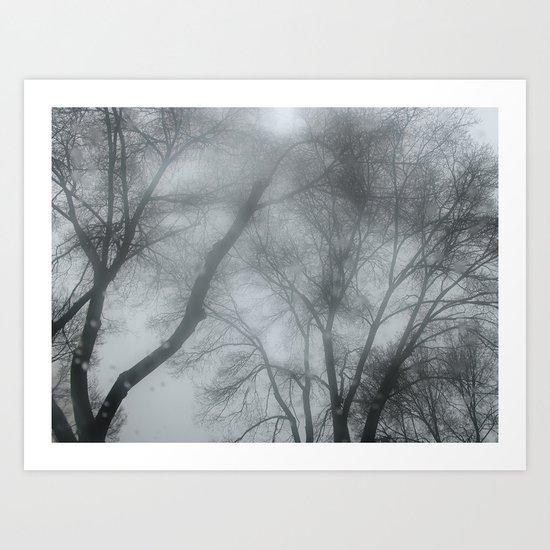 Blue storm trees Art Print