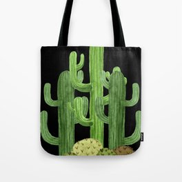 Desert Vacay Three Cacti on Black Tote Bag
