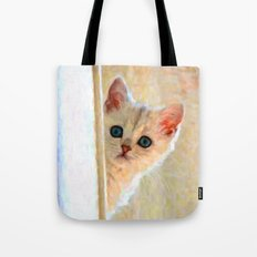 Kitten By The Window - Painting Style Tote Bag