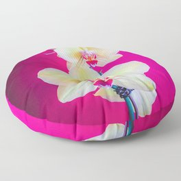 closeup white and pink orchids plant with pink background Floor Pillow