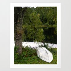 At the pond Art Print