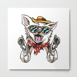 Chihuahua Robbery - Cool Chihuahua with Guns Metal Print