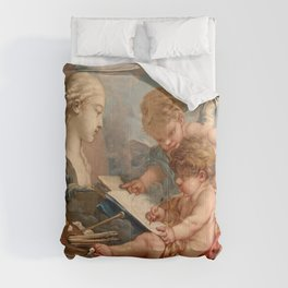 "François Boucher ""Cupids. Allegory of Painting"" Comforters"