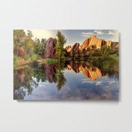 Red Rocks Reflections Roxborough Park and Arrowhead Golf Course Colorado  Metal Print