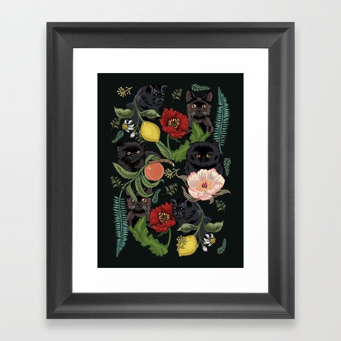 Botanical and Black Cats Gerahmter Kunstdruck