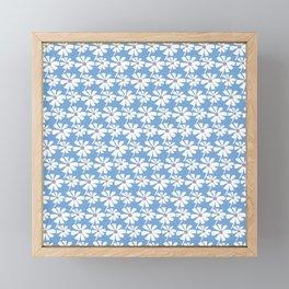 Daisies In The Summer Breeze - Blue Grey White Framed Mini Art Print