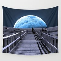 bill Wall Tapestries featuring Once in a blue moon by Donuts