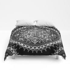 White Flower Mandala on Black Comforters