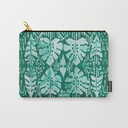 JUNGLE IKAT Green Tropical Monstera Carry-All Pouch