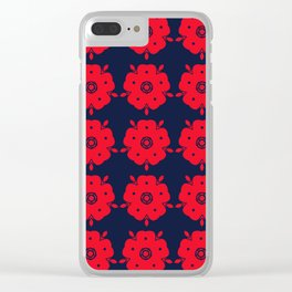Japanese Samurai flower red pattern Clear iPhone Case