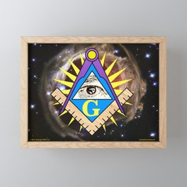Masonic Square & Compass with Red Star Background Framed Mini Art Print
