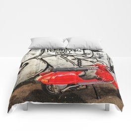 Red Vespa and graffitis Comforters