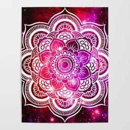 Galaxy Mandala Red Fuchsia Purple Pink Poster