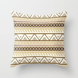 Rustic Brown Tribal Pattern Throw Pillow