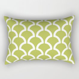 Classic Fan or Scallop Pattern 454 Olive Green Rectangular Pillow