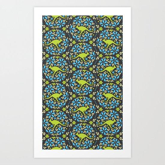 Flowers & Roos Art Print