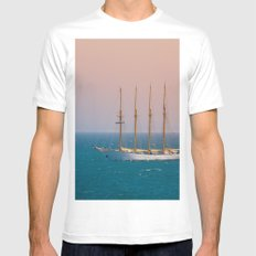 The sun on the sailing ship White MEDIUM Mens Fitted Tee