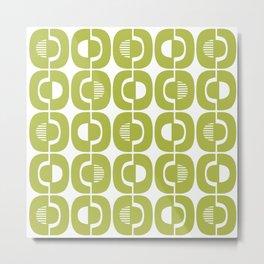 Retro Mid Century Modern Pattern 339 Olive Green Metal Print