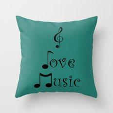 I Love Music - Tribal Teal Throw Pillow